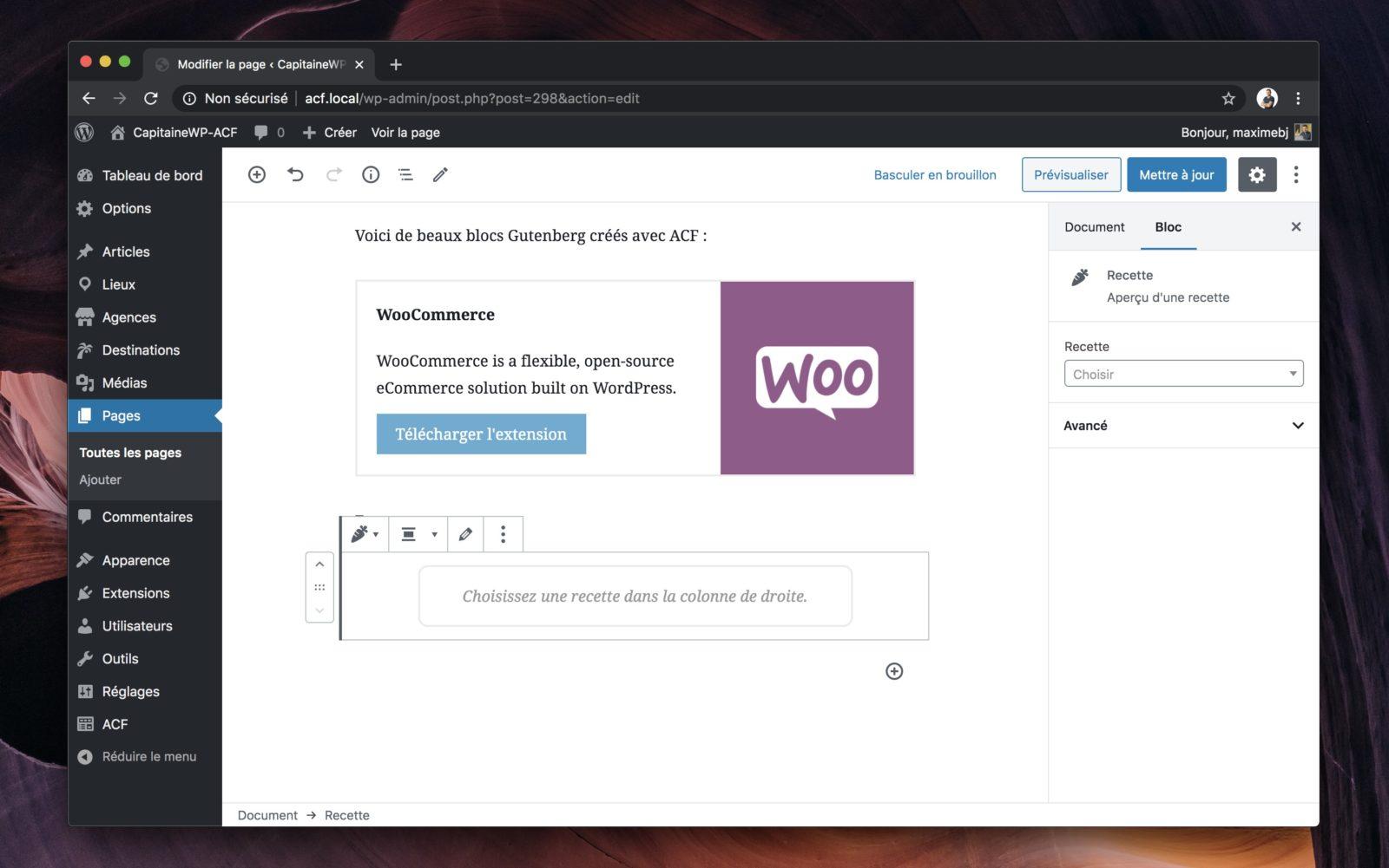 Le message réservé à l'admin WordPress nous invite à sélectionner une recette