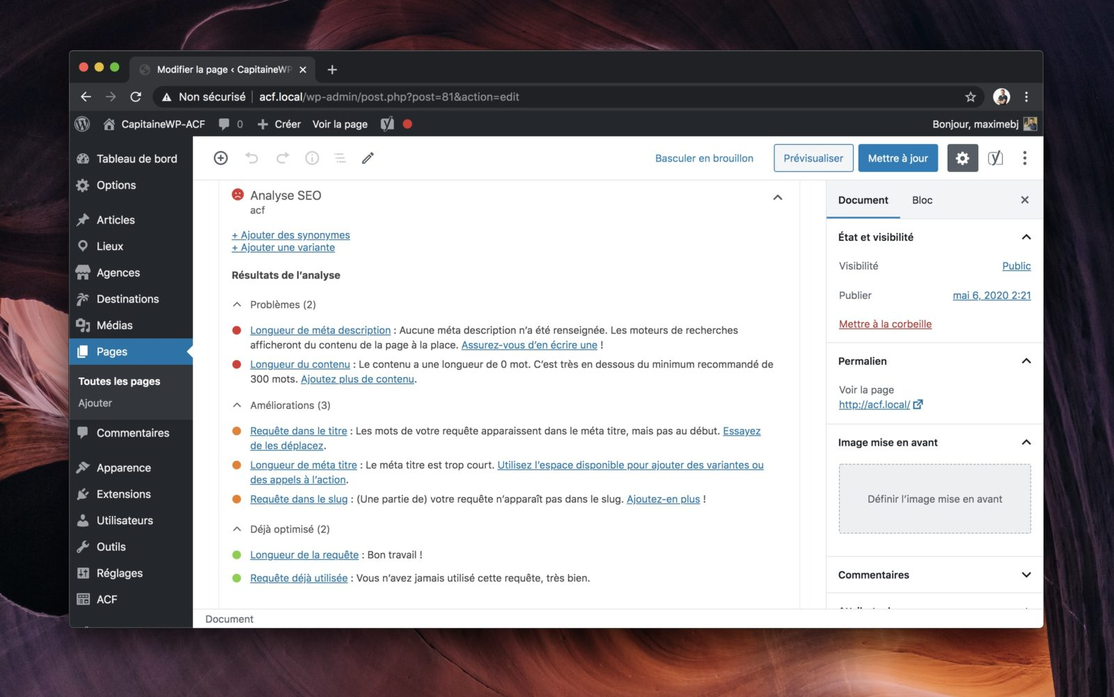 Capture d'écran de la metabox de Yoast.