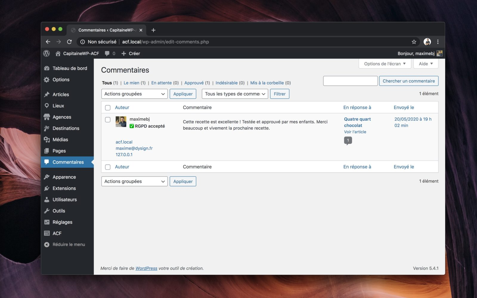 L'interface de gestion des commentaires de WordPress.