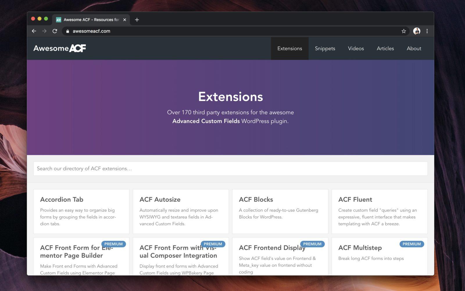 Capture d'écran du site AwesomeACF