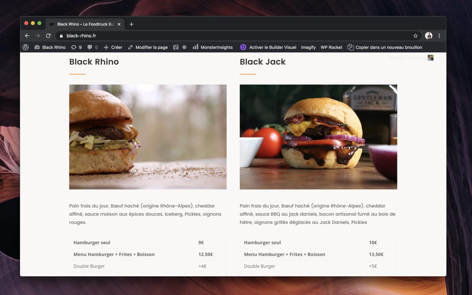 Capture d'écran de la carte des menus du Black Rhino