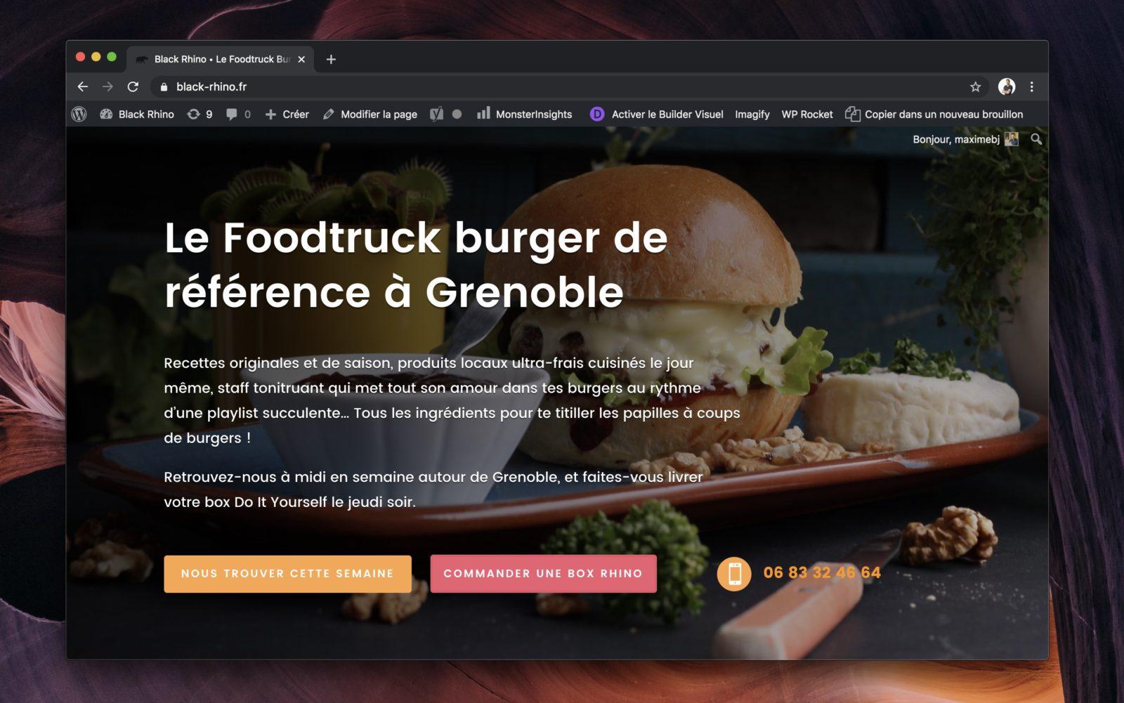 Capture d'écran de la page d'accueil du site Black Rhino