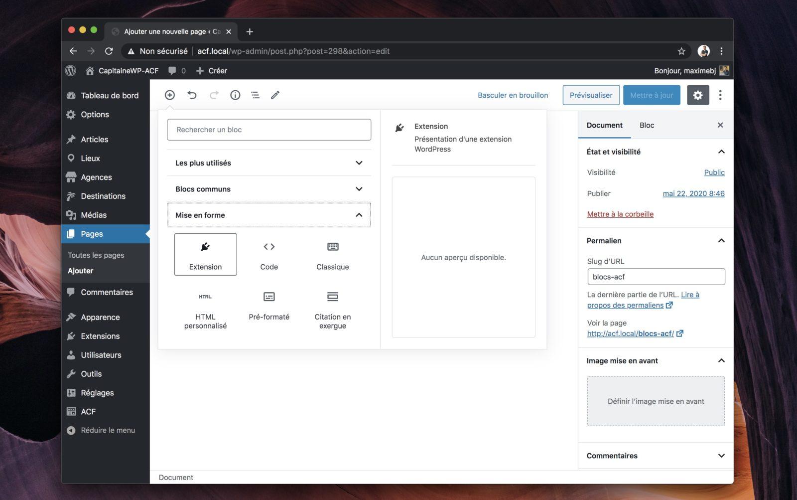 Capture d'écran du menu d'insertion de blocs de l'éditeur, où l'on voit notre bloc apparaitre dans la liste