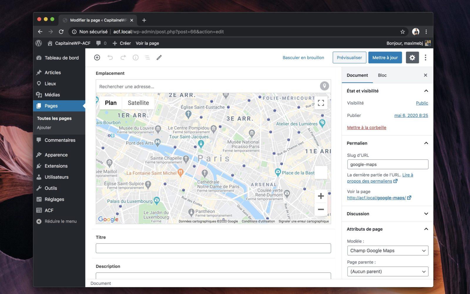 Le champ Google Maps dans ACF