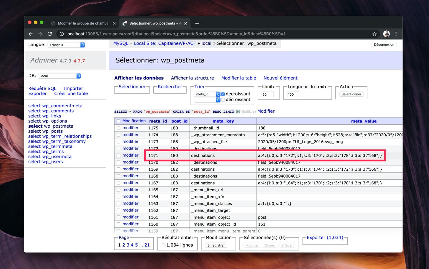Capture d'écran de la base de données de notre site