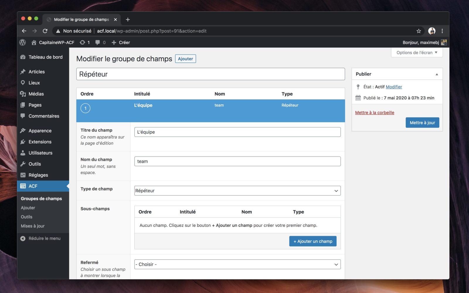 Capture d'écran de l'interface de gestion des champs du Répéteur dans ACF