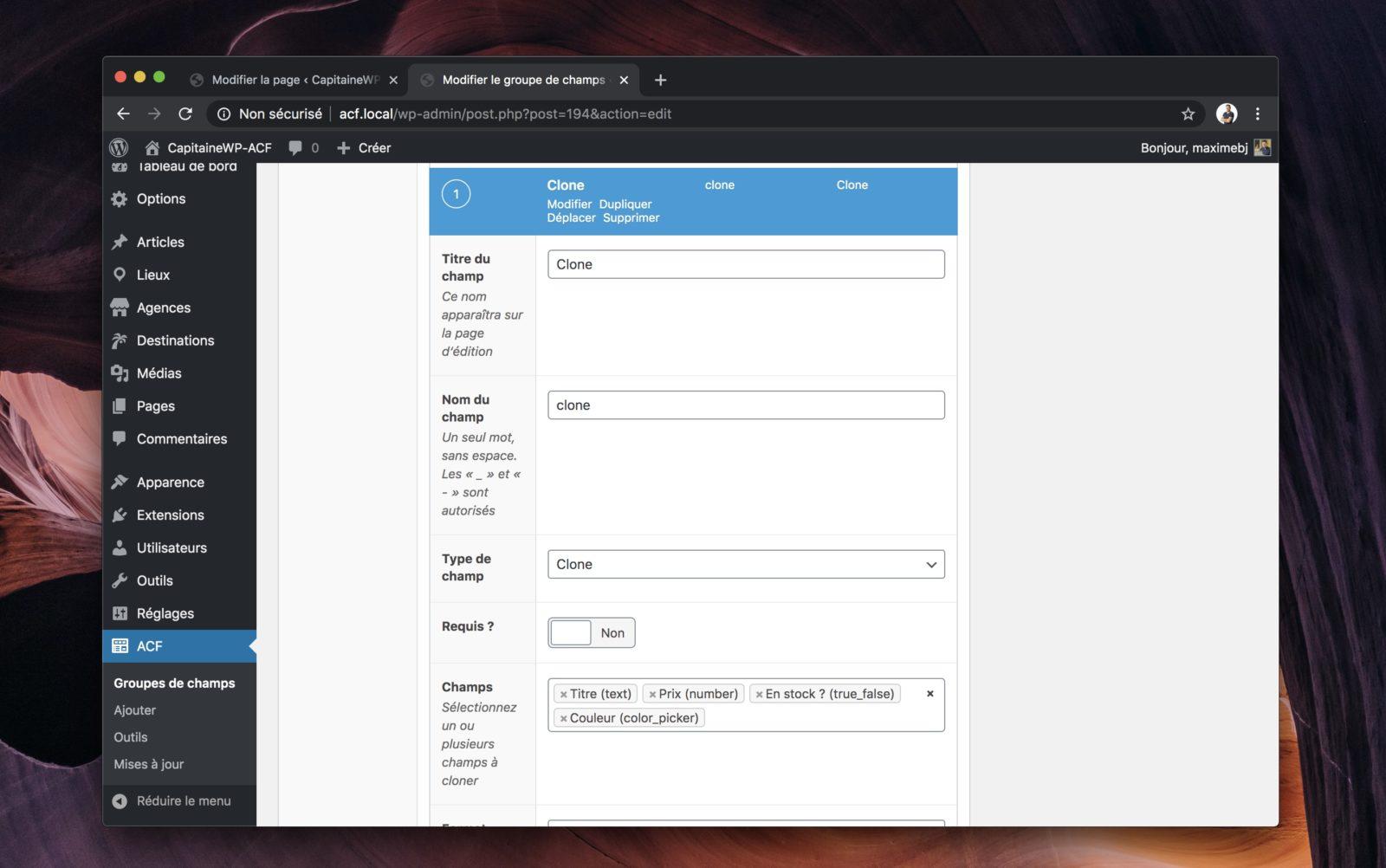 L'interface de configuration du champ clone d'AFC