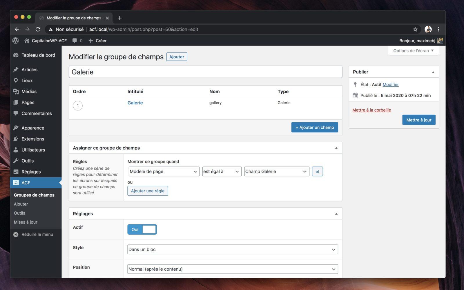 Capture d'écran de l'interface de gestion des champs ACF