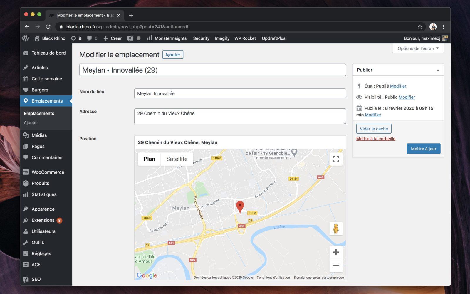 Capture d'écran du formulaire de saisie des emplacements
