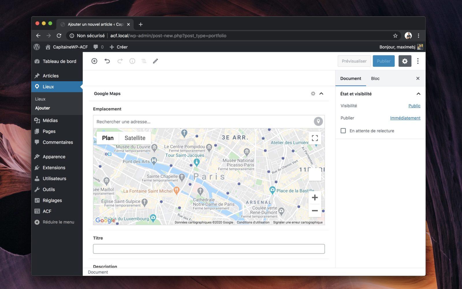 Capture d'écran de WordPress et son interface de rédaction