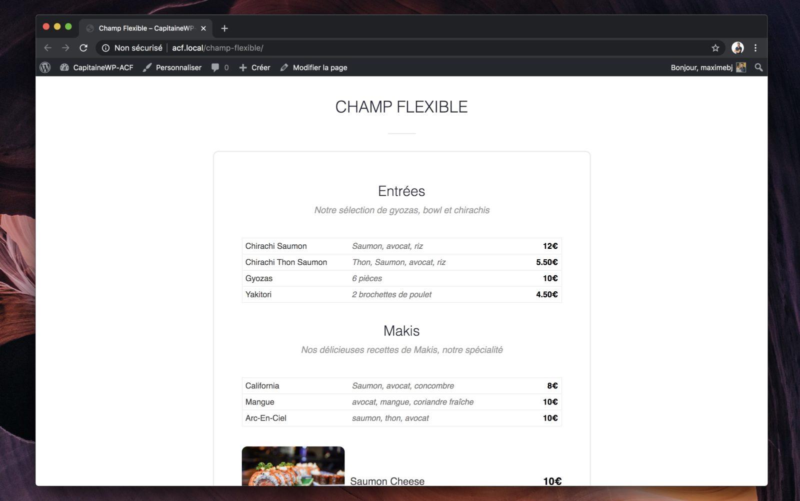 Capture d'écran d'une carte des menus d'un restaurant