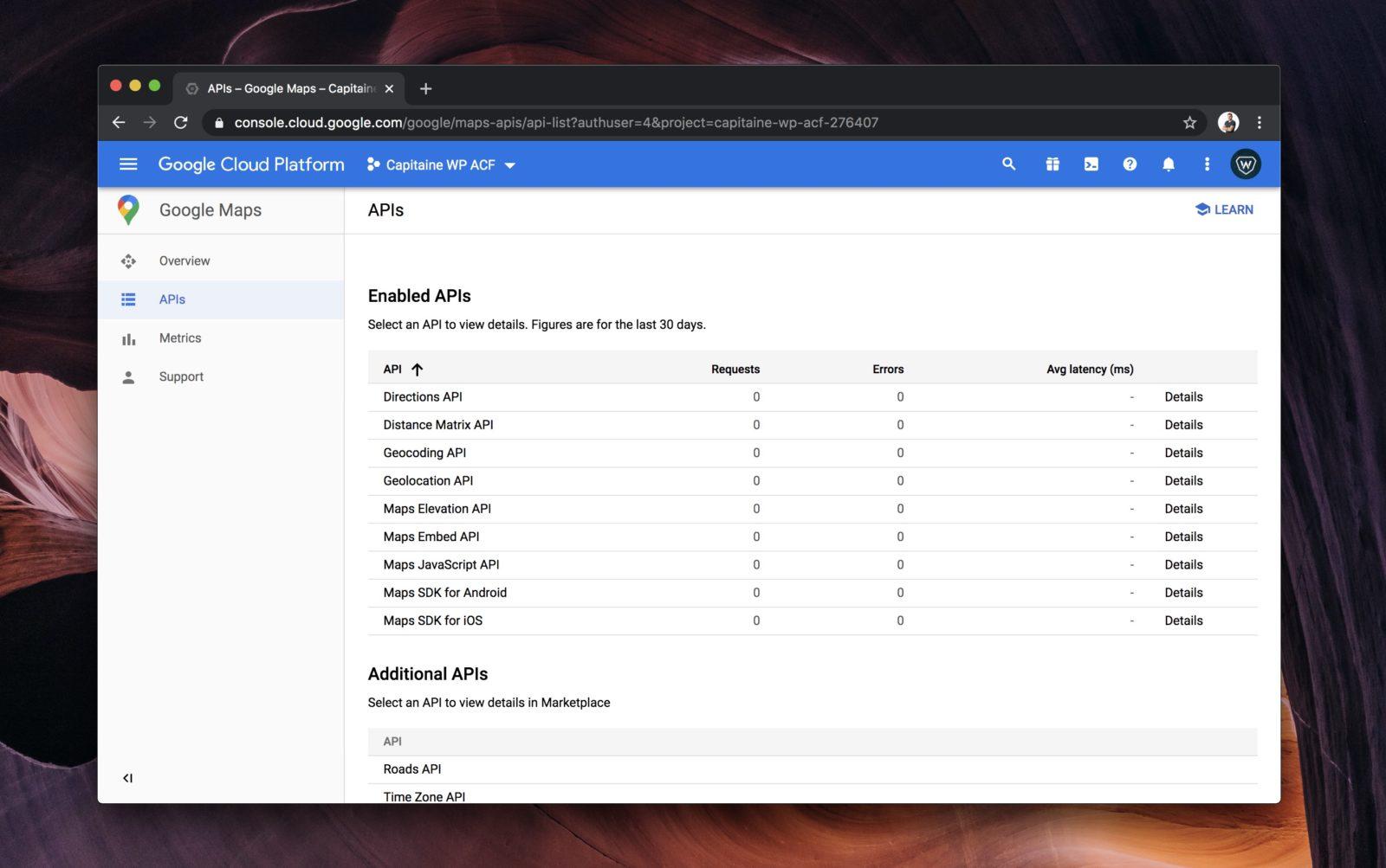 La liste des API activées sur notre projet Google Cloud Platform