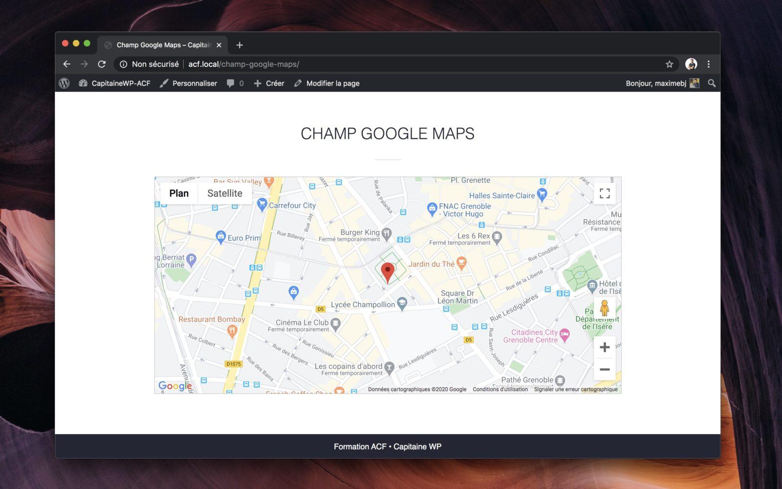 Une carte Google Maps affiché sur le site, pilotée par ACF