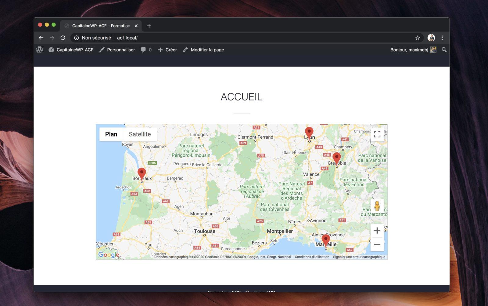 Une carte Google Map affichant plusieurs marqueurs en même temps.