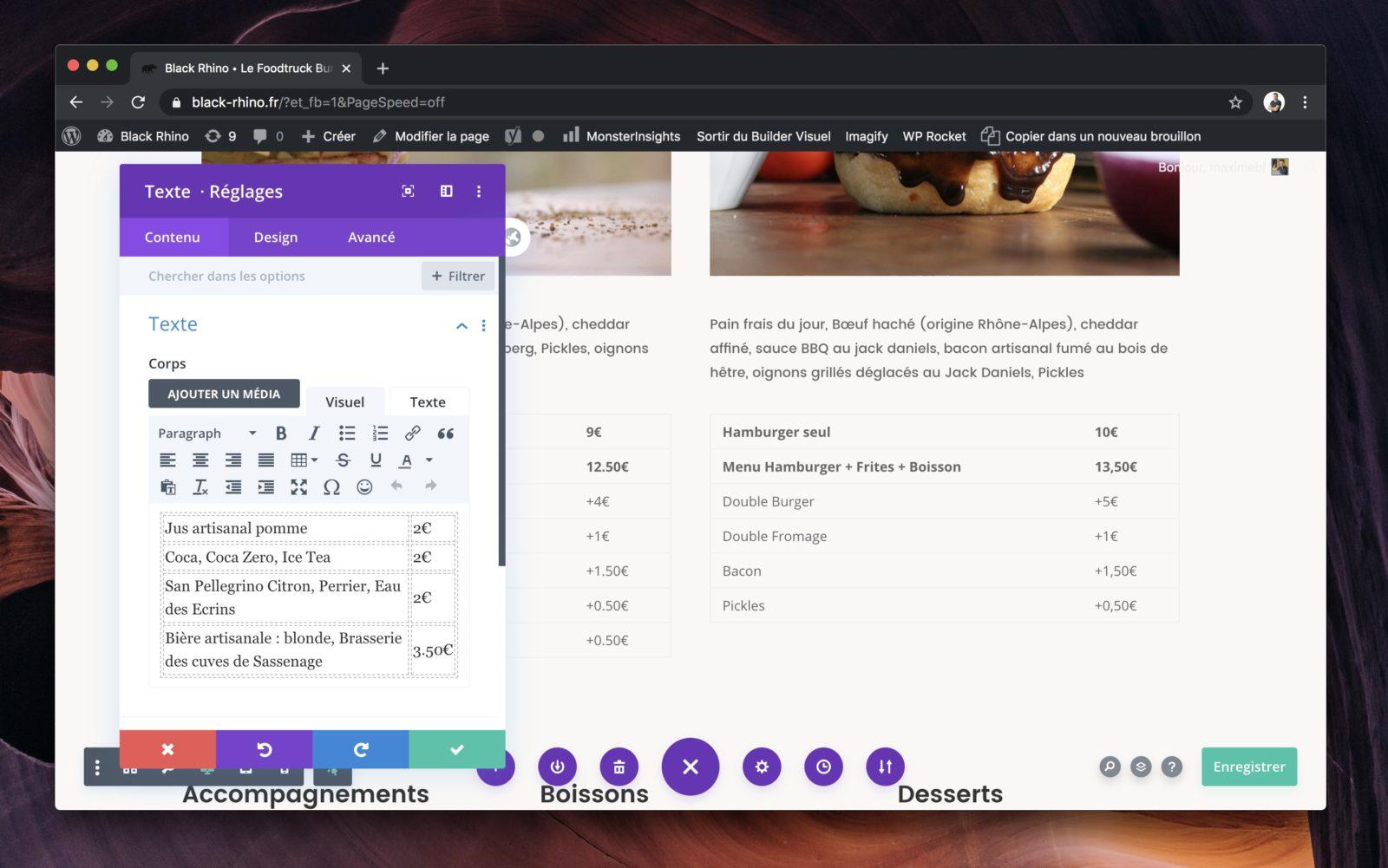 L'interface de l'éditeur visuel de Divi