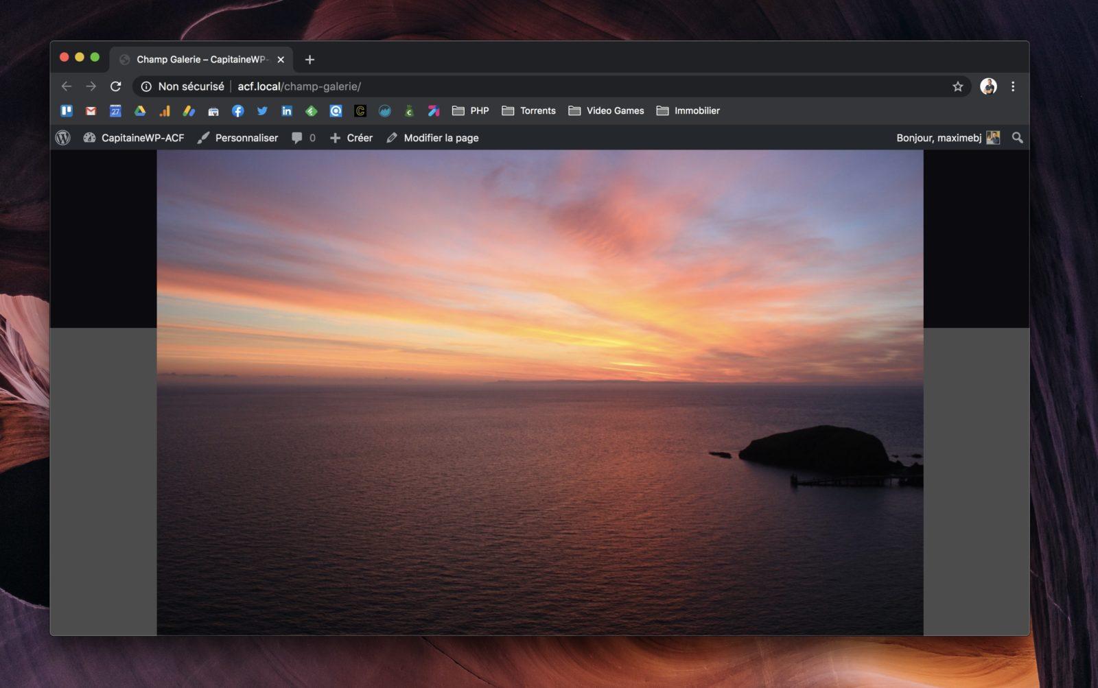 Capture d'écran de la lightbox