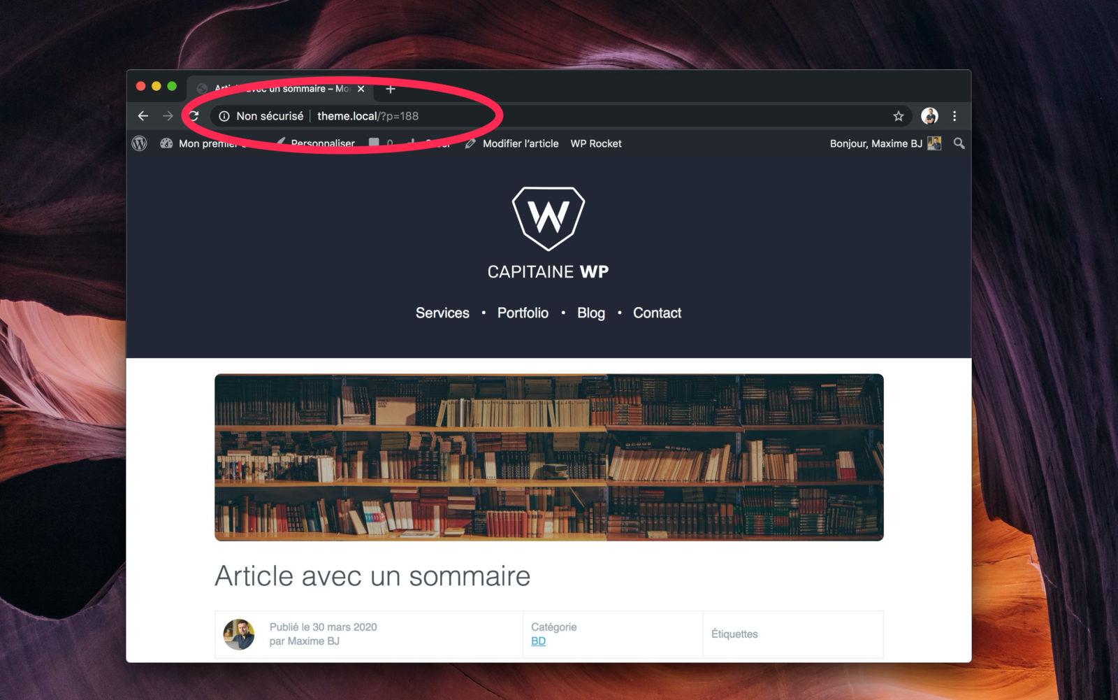 Capture d'écran d'un site WordPress sans réecriture des URL. Le permalien est donc brut.