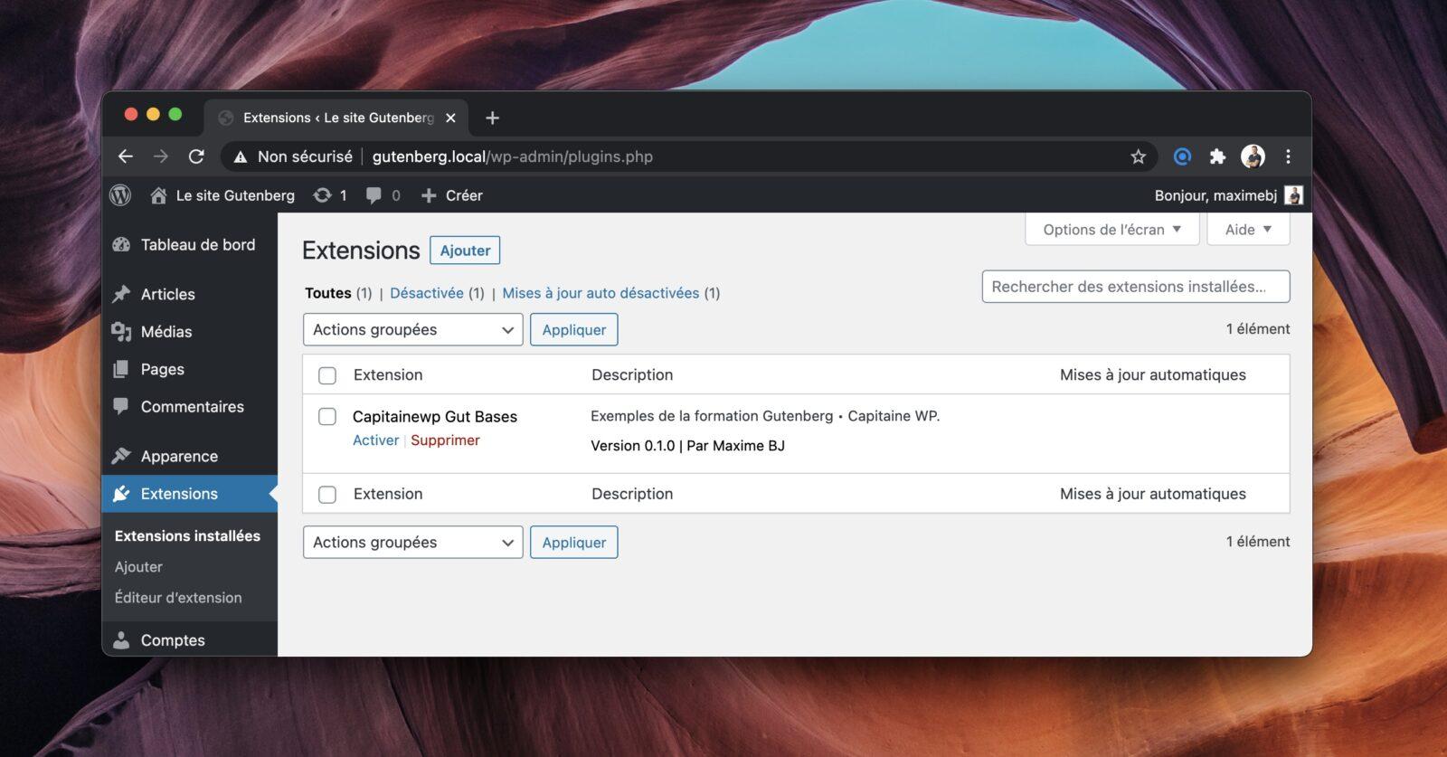 L'écran des extensions dans WordPress. Pour le moment, notre extension de blocs Gutenberg n'est pas activée