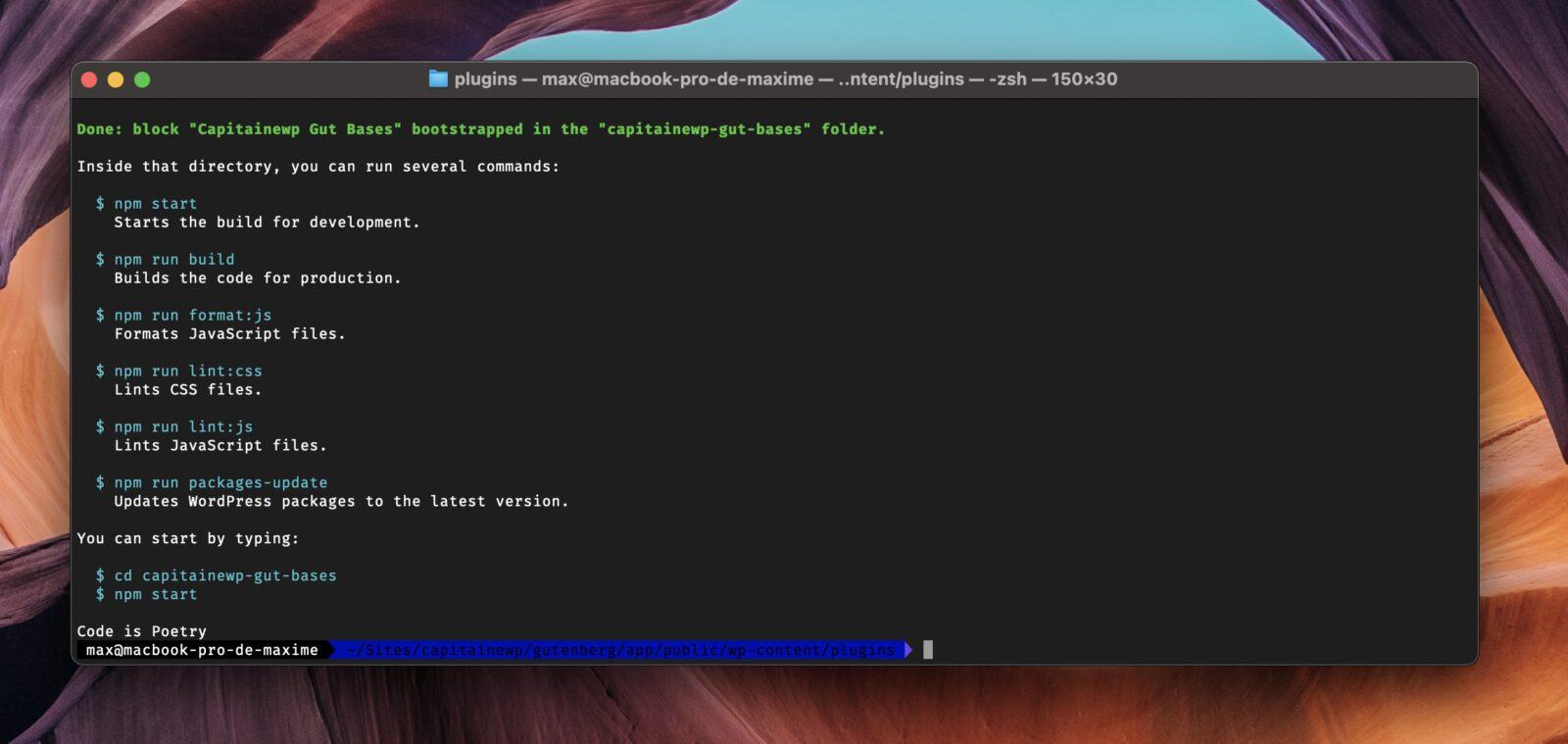 Le terminal indique que create-block a été installé avec succès dans votre dossier plugins