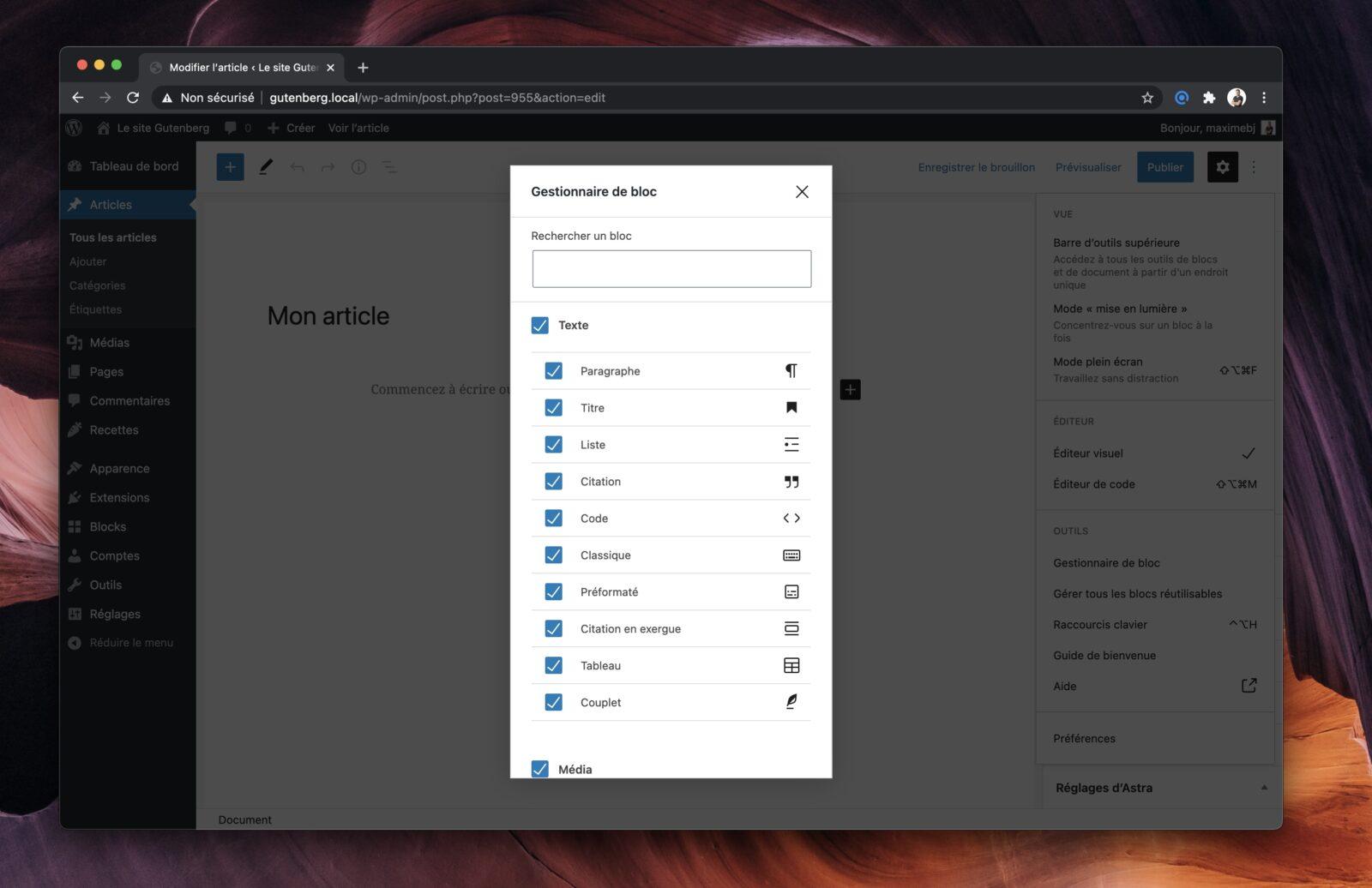 L'interface de désactivation des blocs dans l'éditeur de WordPress