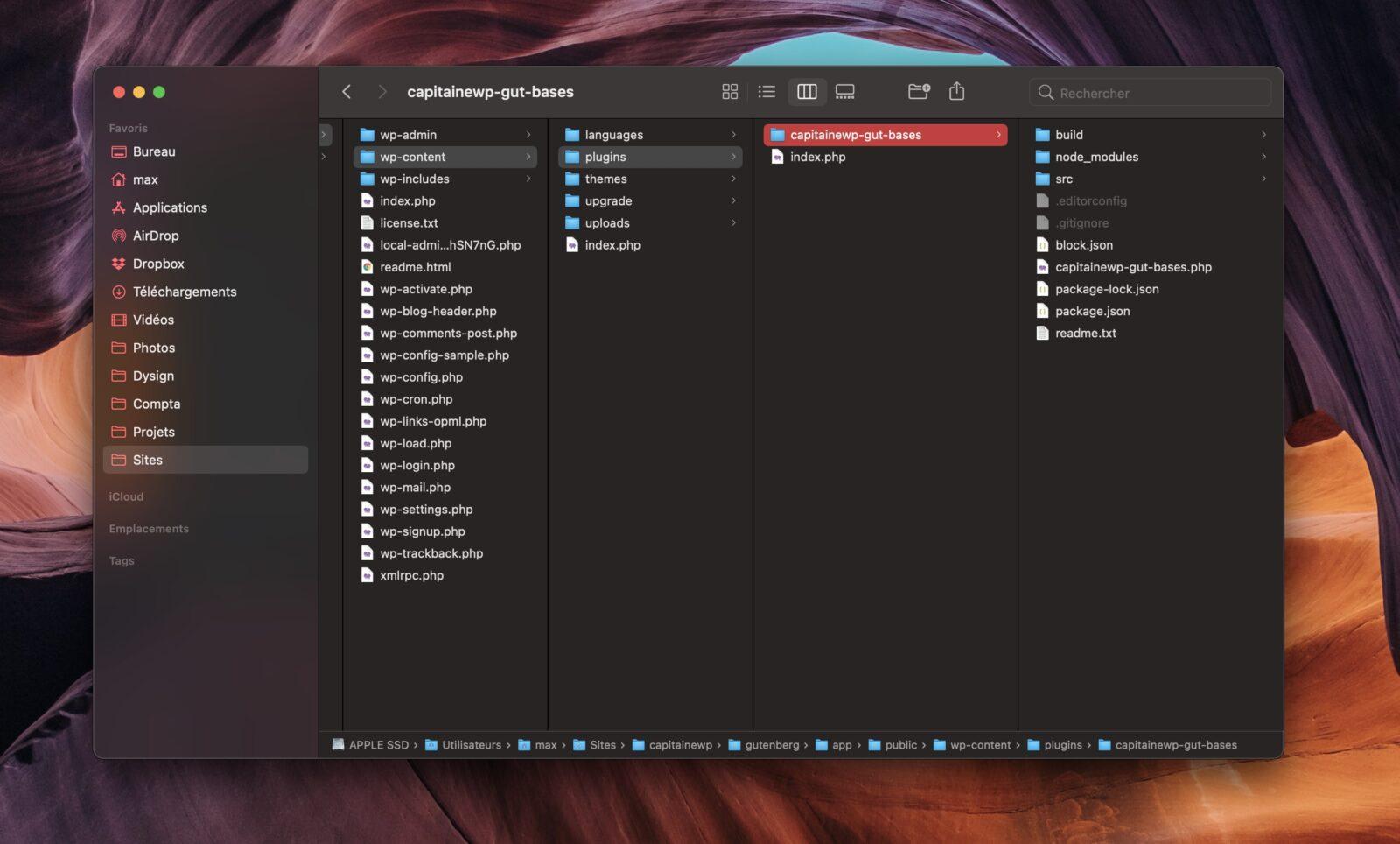 L'architecture de votre extension dans votre explorateur de fichiers