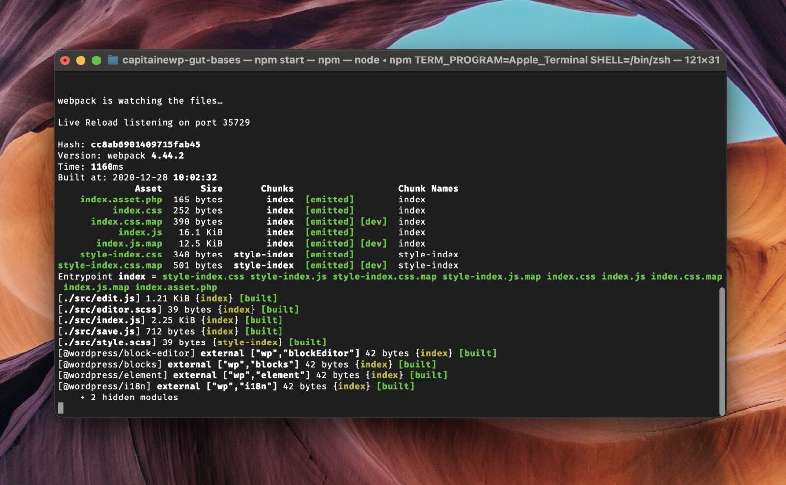 Le terminal affiche différentes informations, comme le fait que Webpack est bien lancé et prêt à compiler les fichiers
