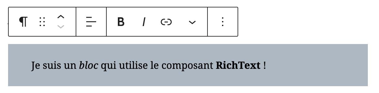 Capture d'écran du composant RichText et de sa Toolbar en action