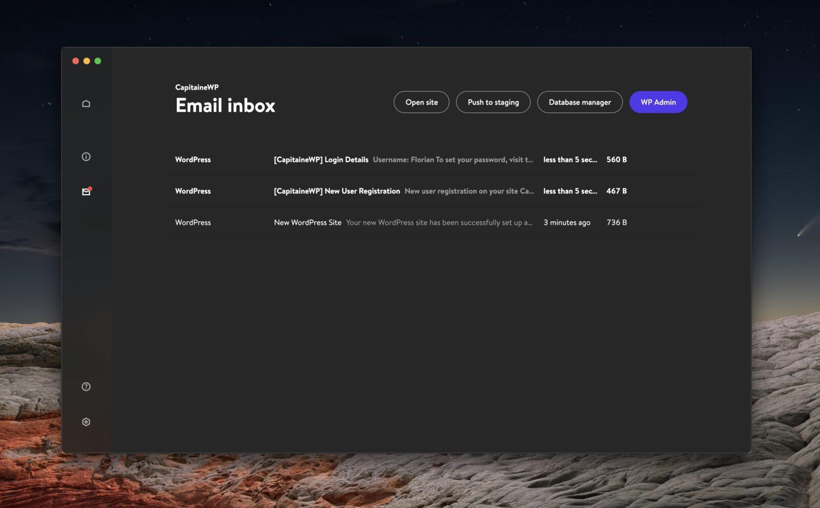 La boîte de réception des e-mails locaux