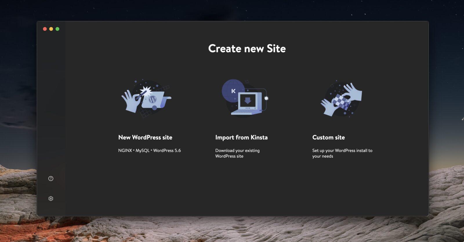 L'écran d'accueil de DevKinsta, qui permet d'installer son premier site