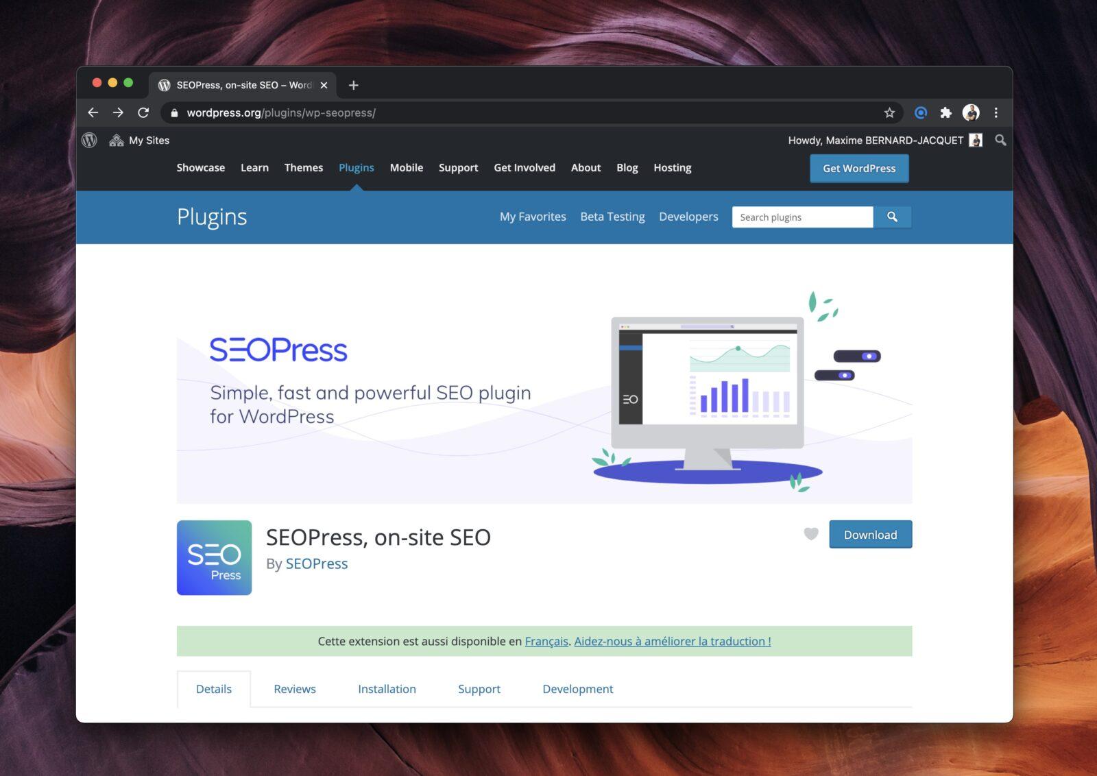 La page officielle d'une extension wordpress.org