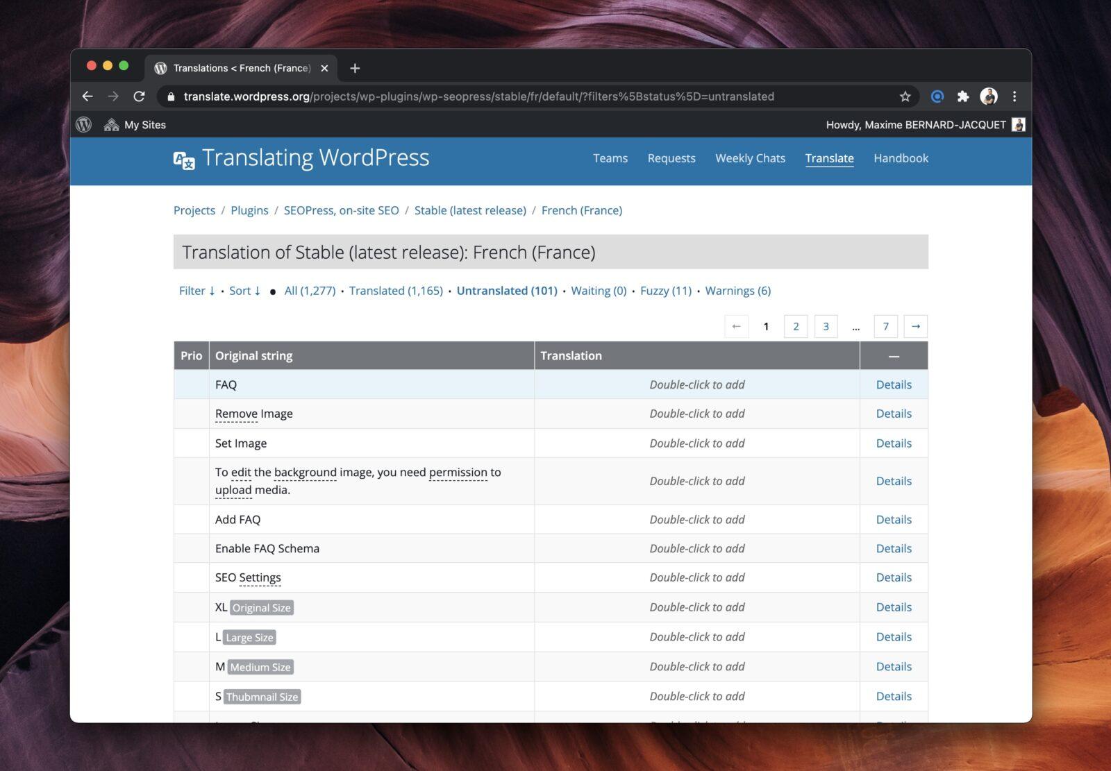 L'interface de traduction des extensions sur wordpress.org